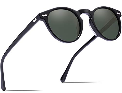 - Carfia Polarized Sunglasses for Women Vintage Round Glasses UV400 Protection (Green Lens, Multicoloured)