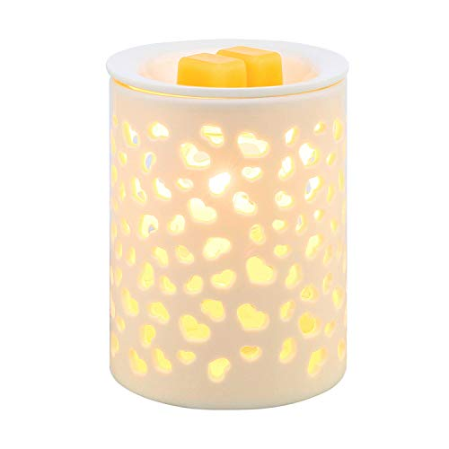 COOSA Ceramic Heart-Shaped Pattern Candle Warmers Wax Warmers Electric Incense Oil Fragrance Warmer Night Light Aroma Decorative Lamp for Gifts & Decor Home Office Bedroom Living Room