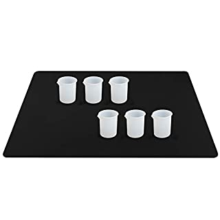Silicone Mat and Cups for Resin, Gartful Resin Tools Kit Including 1PCS Extra Large Silicone Crafts Mat, 6PCS 100ml Measuring Cups for Resin Mixing, Casting Molds, Paint Pouring, Cup Making, Set of 7