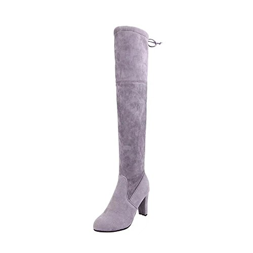 Sexy Over Heel Boot Heels Grey Boots The 1 Suede Thick ED High Up Block Knee Embroidery Womens Lace 1FWwqf45v