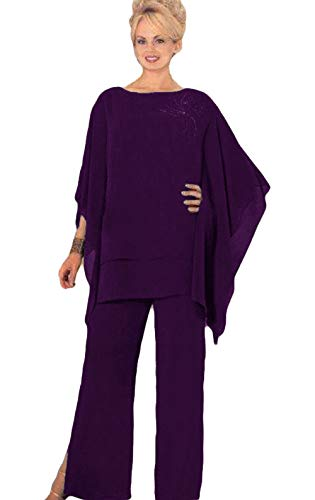 Mother Pants Suits Plus Size Chiffon Evening Formal Wear Mother Groom Trousers Suits Purple