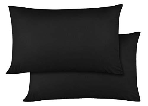 Travel Pillow Case 14x20 Size Natural Cotton Zipper Pillow Cases Set of 2 Travel Pillowcase 600 Thread Count 100% Egyptian Cotton 2 Pack, Toddler Pillow Cases Black Solid Zipper Closer