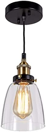 New Legend Lighting Modern Industrial Edison Vintage Style Glass Pendant 1-Light Hanging Ceiling Lighting Lamp, 693