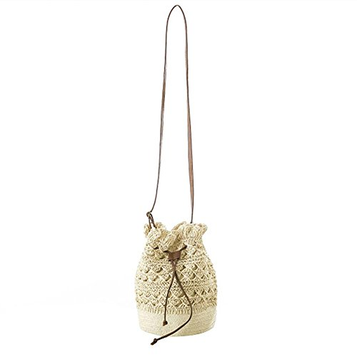 Beach Bag Bucket Shoulder Women Everpert Handbag Crochet Drawstring Beige Crossbody Straw 0qXIw