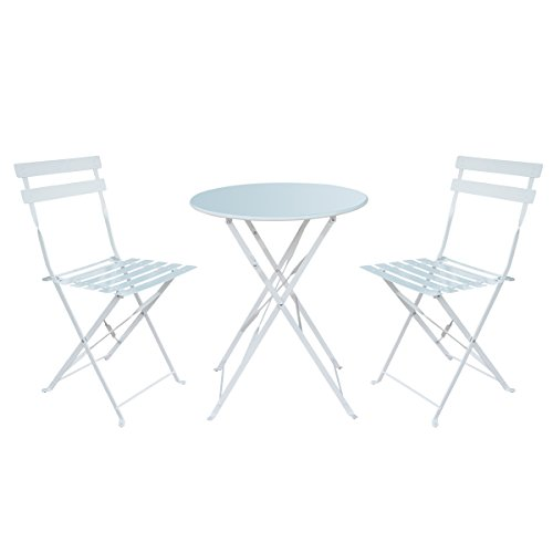 HollyHOME Outdoor Balcony Folding Steel Bistro Furniture Sets, Patio 3-Piece of Foldable Table and Chairs, White