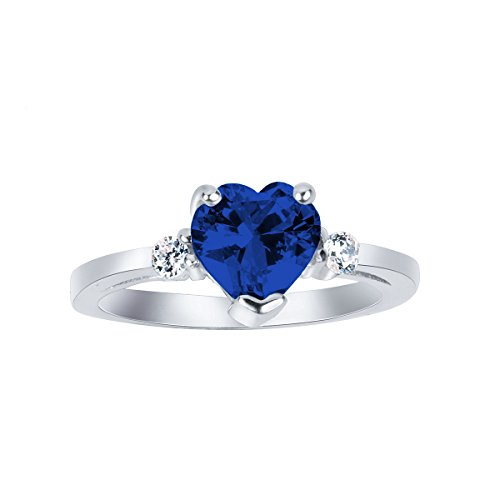 Cubic Jewelry Zirconia Sapphire (CloseoutWarehouse Simulated Sapphire Cubic Zirconia Heart Ring Sterling Silver Size 9)