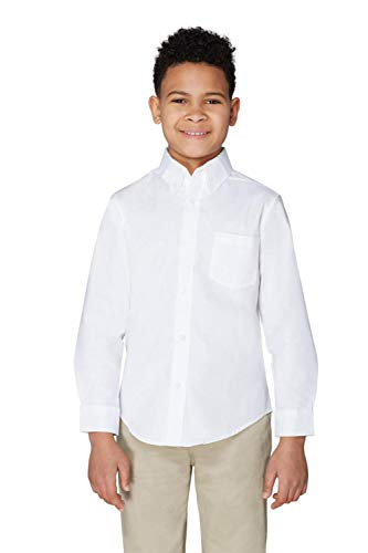 French Toast Little Boys' Long Sleeve Oxford Dress Shirt, White, 7 by French Toast