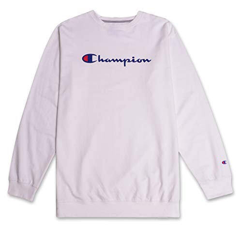Champion Mens Big and Tall Crewneck Pullover French Terry Sweatshirt with Script Logo White 3X