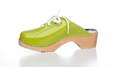 BUR Clogs - Zuecos de material sintético para mujer 36 EU Verde (Verde)