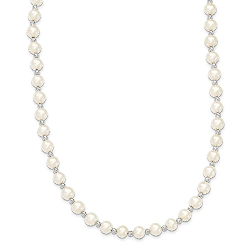 (14k White Gold 7mm Near Round Freshwater Cultured Pearl Chain Necklace Pendant Charm Fine Jewelry Gifts For Women For Her)