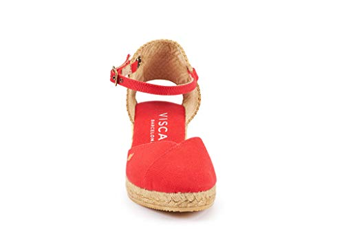 2 Classic Viscata With Heel Ankle strap Rouge In Espadrilles Spain Pubol Made Toe inch Closed S88XHrq