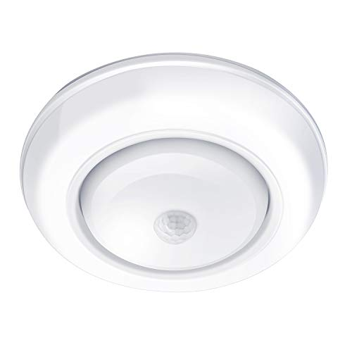 - Motion Sensor Ceiling Light Battery Operated AriesTech Wireless Motion Sensing Activated LED Light White 180 Lumen Indoor for Entrance, Stairs, Hallway, Basement, Garage, Bathroom, Cabinet, Closet