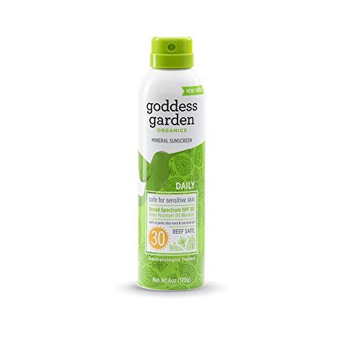 Goddess Garden - Daily SPF 30 Mineral Sunscreen Continuous Lotion Spray - Sensitive Skin, Reef Safe, Sheer Zinc & Titanium, Water Resistant, Non-Nano, Vegan, Leaping Bunny Cruelty-Free - 6 oz Bottle