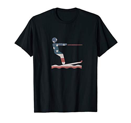 Water Ski T Shirt Water skiing American Flag Tee