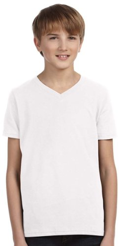 (Bella 3005Y Youth Jersey Short Sleeve V-Neck Tee - White, YL)
