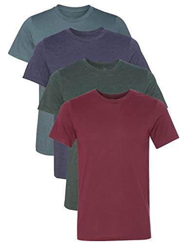 Kennedy Todd 4 Pack Men's Heather Cotton Poly T-Shirt (H Cardinal, H Navy, H Slate, H Forest, ()