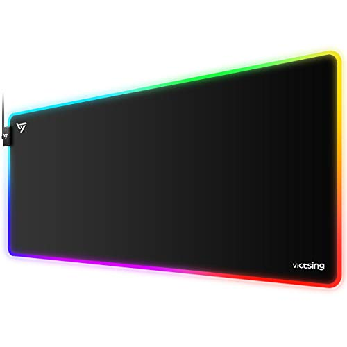 VicTsing RGB Gaming Mouse Pad, 12 Lighting Modes, Soft Oversized (31.5×15.75×0.2 in) Large Extended LED Mouse Pad, Non-Slip Rubber Base, Waterproof Keyboard Mouse Mat for Gamer/Esports Pros/Offices