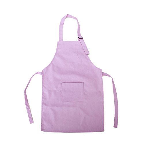 Opromo Colorful Cotton Canvas Kids Aprons with Pocket, Artist Apron & Chef Apron(S-XXL)-light pink-XL ()