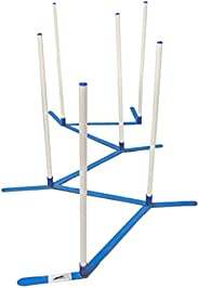 Cool Runners Agility Weave Poles Adjustable 6 Pole Set with Carrying Case and Grass Stakes