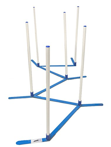 Agility Weave Poles (Agility Weave Poles Adjustable 6 Pole Set with Carrying Case and Grass Stakes)