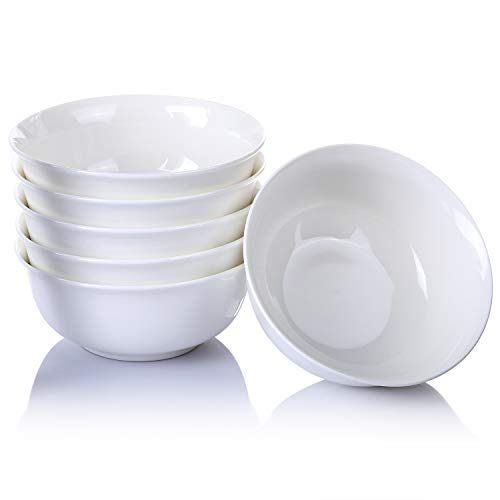 Alt-GT 24 Ounce Porcelain Bowl Dinner Set for Cereal Soup Noodle Snacks Ceramic Bowls with Microwave and Dishwash Safe- 6 Packs, White