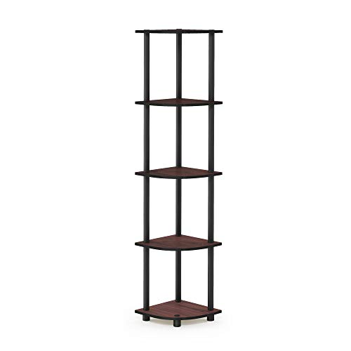 Furinno 99811DC/BK Turn-N-Tube 5 Tier Corner Shelf, Dark Cherry/Black (Cabinet Curio With Curved Glass)