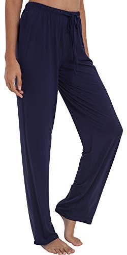 GYS Women's Bamboo Sleep Pants, Small, Navy Blue