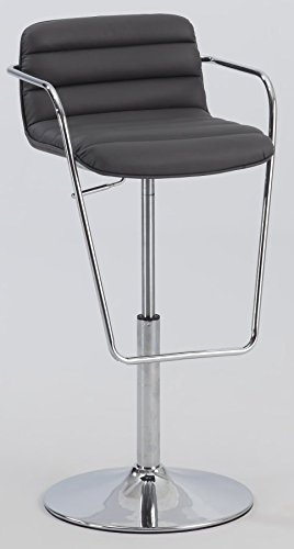 Chintaly 0692 Ribbed Pattern Pneumatic Stool In Gray 0692-AS-GRY