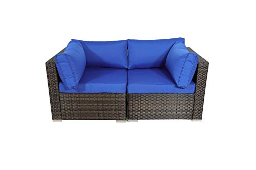 Outdoor Brown Rattan Wicker Sofa Set Garden Patio Furniture Cushioned Sectional Loveseat(Royal Blue Cushions,2 Piece) (Furniture Garden Royal Patio)