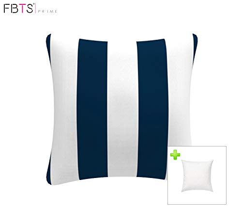 FBTS Prime Outdoor Decorative Pillows with Insert Navy and White Stripe Patio Accent Throw Pillow Covers 18x18 Inch Square Patio Cushions for Couch Bed Sofa Patio Furniture (Outdoor Stripe Pillow Navy)