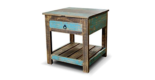 Crafters and Weavers Rustic Distressed Reclaimed Wood Nightstand End Table with Drawer and Bottom Shelf