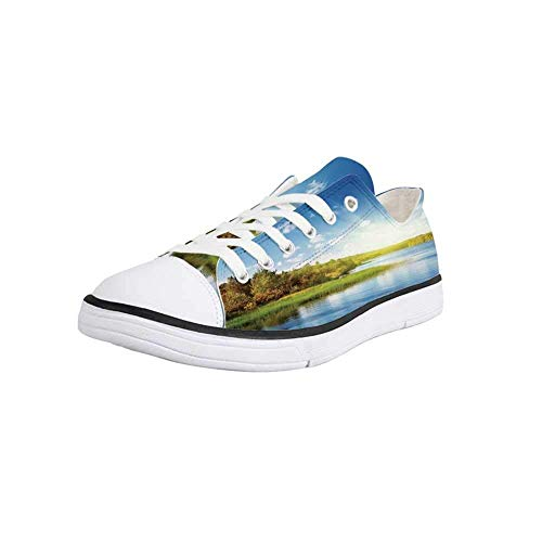 - Canvas Sneaker Low Top Shoes,Lake House Decor,Photo of a Lake with Horizon in Northern Mountains Exploring Earth Miracles Art Women 7