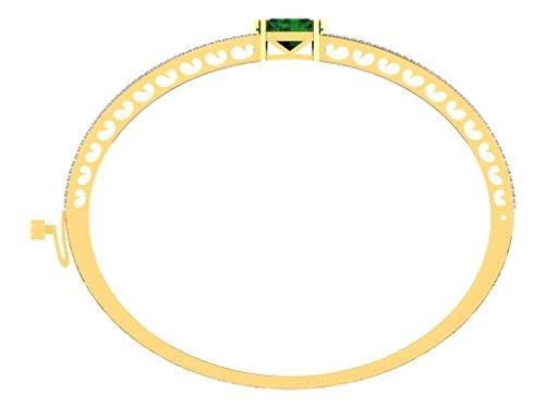 Libertini bracelet argent 925 femme plaque or Jaune serti de Diamant et Émeraude