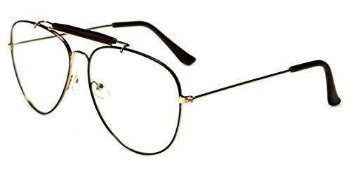 WebDeals - Clear Lens Aviator Eyeglasses Classic Mirror Retro Metal Frame... (Top Bar Gold/Black, - Metal Top Bar
