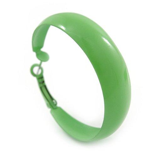 Boucles d'oreilles cercles émail citron vert medium