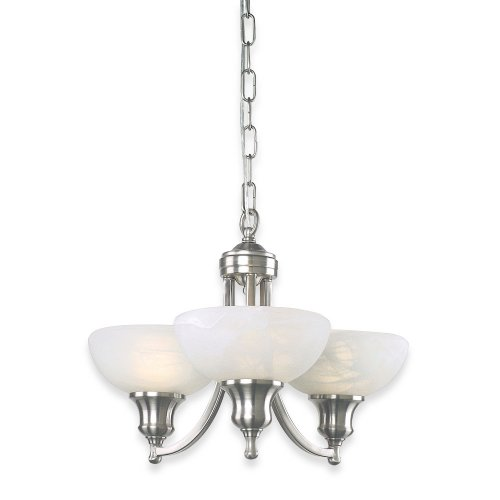 Royce Lighting RMC800/3-12 Fairlawn Three-Light Mini Chandelier Brushed Steel with White Alabaster - Chandelier Royce 4 Lighting Light
