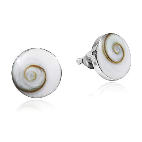 Round 10 mm Swirl Shiva Shell .925 Sterling Silver Post Earrings