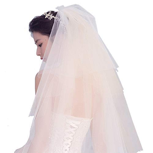 Campsis Women's MultiLayer Bride Wedding Veil Ivory Waist Length Bridal Hair Accessories Tulle Veil