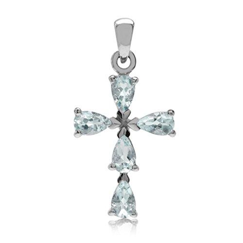 Aquamarine Cross Pendant - Genuine Blue Aquamarine White Gold Plated 925 Sterling Silver Cross Pendant