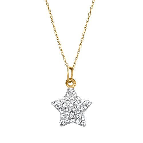 Crystaluxe Puffed Star Charm Pendant Necklace with Swarovski Crystals in 10K Gold