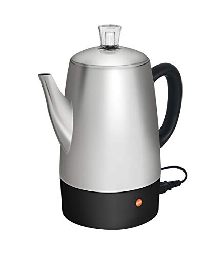 Moss & Stone Electric Coffee Percolator | Silver Body with Stainless Steel Lids Coffee Maker | Percolator Electric Pot - 10 Cups (Silver)