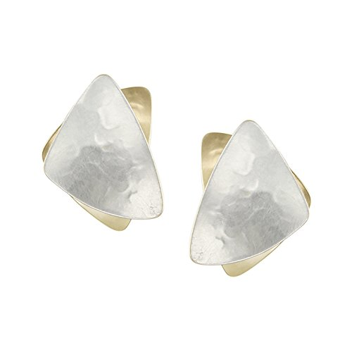 Marjorie Baer Stacked Triangle Clip Earring in Brass and Silver