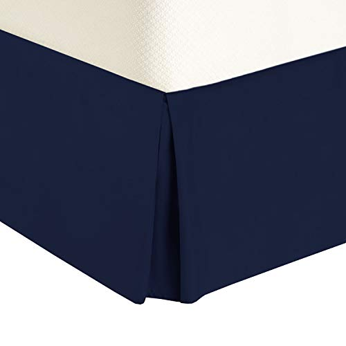Royal Tradition Solid 300 Thread Count Pure Cotton California King Bed Skirt (Navy) Pleated Tailored Bedskirts with 15