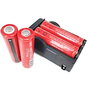ON THE WAY®4pcs 3.7V 18650 4000mah Rechargeable Li-ion Battery with PCB and 18650 battery Charger for LED Flashlight, Headlamps, search light lamp, etc