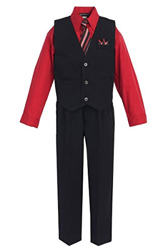 iGirlDress Baby Boys' and Special Occasion Pinstripe Vest Set Black/Red 6-9Mos
