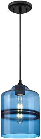 Westinghouse Lighting 6366600 One-Light Indoor Mini Pendant Light, Matte Black Finish with Sapphire Glass