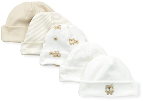 Gerber Unisex-Baby Newborn 5 Pack Caps Bear, Brown, Newborn ()