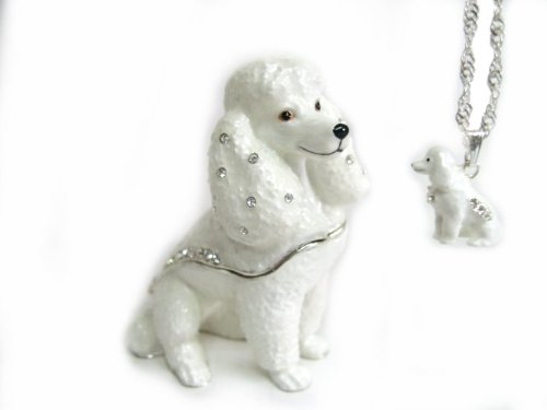 White French Poodle Dog Bejeweled Trinket Box ()