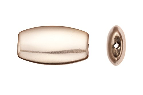Acrylic beads/ finding piece, puffed long barrel, imitation gold-finished, 31x17.5mm sold per pack of 10pcs