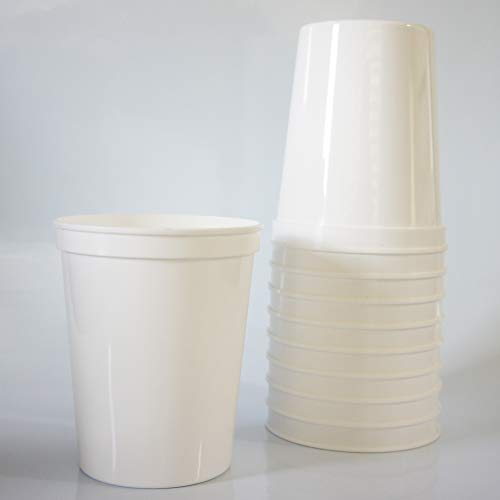 10 Pack - 16 oz Reusable Plastic Stadium Cups - Blank, Reusable or Disposable Unbreakable Tumblers Perfect for Any Party/Fiesta, or Customizable for Marketing and DIY Projects (White)